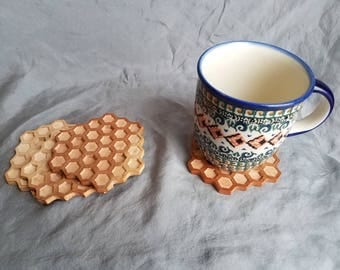 Honeycomb coasters, coaster set, coasters, wooden coasters, wooden coaster set, honey comb coaster set, wooden honeycomb, drink holder,