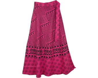 Hibiscus Pink Long Wrap Around Skirt