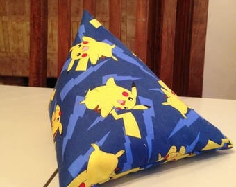 iPad Mini Beanie / Kindle Stand / e Reader Pillow / Tablet Cushion - Blue with Yellow Pokemon