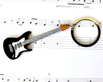 Music Keyring, Music Gift For Him, Electric Guitar Gift, Music Keychain, Guitarist Gift, Gifts For Him, Guitar Player Gift, Musicians Gift