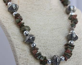 Chunky Jasper & Silver Necklace | Natural Gemstone Unique Jewelry