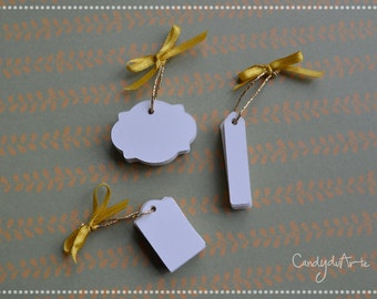Mini Tags without writing-small labels-ivory-White Skin-Tag-Tag wedding favors-Name