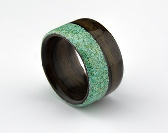 Wooden Ring Handcrafted  Indian Rosewood  with Offset Turquoise Inlay
