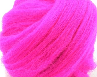 Merino Wool Combed Top/Roving by the Ounce or by the Pound - Neon Pink