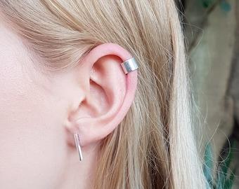 Minimalist Sterling Silver Bar Stud Earrings