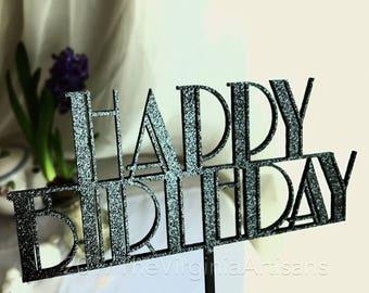 Happy Birthday Cake Topper - Art Deco Cake Topper - Great Gatsby -  Cake Topper