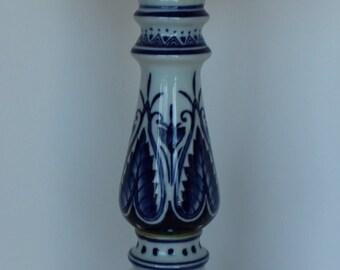 Imari style candleholder, blue and white candleholder, porcelain candle holder tall candleholder