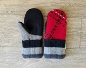 Red and Black Sweater Mittens //LoveWoolies Mittens //Fleece Lined