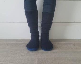 "Navy Blue Sweater Socks // Size 5-8, 17"" Tall // Cabin Socks // upcycled wool sweater // Washable // Thick felted wool sole"
