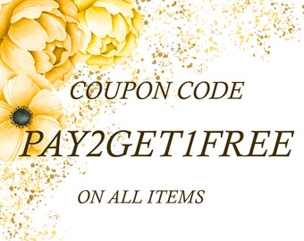 PAY2GET1FREE Coupon code for digital items - clipart, banners, frames, est.