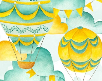 Hot air balloons clipart, Airballoons clipart, Sky balloon, Green balloons, Airballoon illustration, Watercolor clipart, Planner Blog clipar