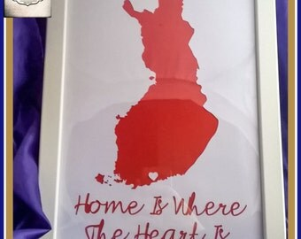 Framed Personalised 1st Anniversary Gift - Home Is Where The Heart Is - New Home Gift - New Home Paper Cut - Anniversary Paper Cut
