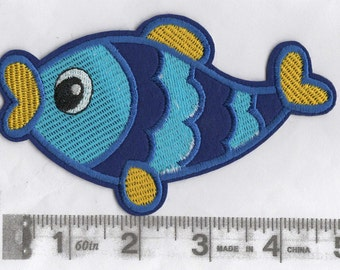 Large blue and yellow happy fish iron on patch