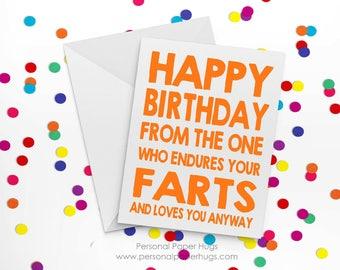 Funny Birthday Card for guy - Funny Birthday card for husband - Funny birthday card for boyfriend - Farts - Happy Birthday