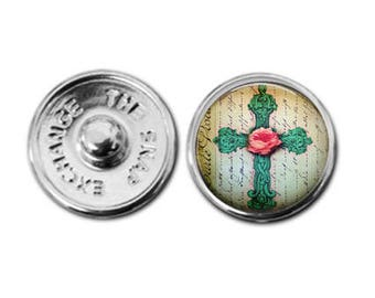 Rose Cross charm, cross jewelry, snap button, snap charm, button jewelry, snap jewelry, snap button charm, snap in charm, interchangeable
