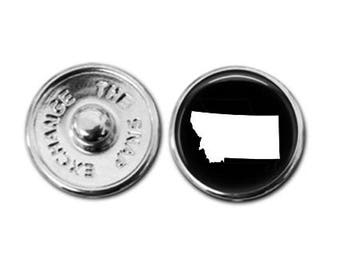 Montana charm, Montana map charm, snap button jewelry, button snap jewelry, button jewelry, snap charm jewelry, snap jewelry