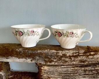 2 Vintage teacups, floral, gold rimmed teacups