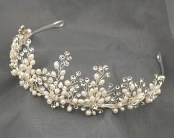 Bridal Leaf Crown, Freshwater Pearl Wedding Tiara, Silver Wedding Crown, Floral Bridal Tiara, Flower Crown, Silver Leaf Wedding Tiara HMH006