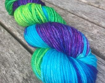Hand Dyed Superwash Merino DK/Light Worsted Yarn Wool, 100g/3.5oz, 'Teenage Kicks'