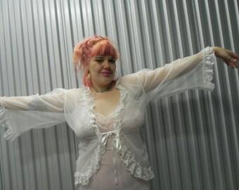 White Sheer Lace Night Jacket