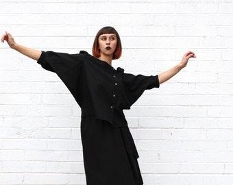 1970's Black Avant Garde Two Piece Dolman Sleeve Skirt Suit