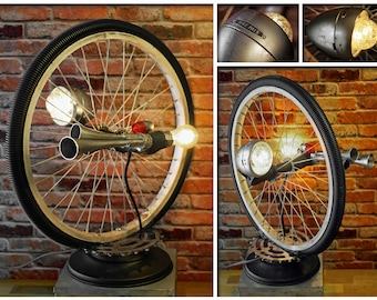 Industrial Repurposed Bike Rim Vintage Triple Air Horn Chain Wheel Bike Pals Upcycled Lamp Light Hand made One of a Kind by Loftyideas4u