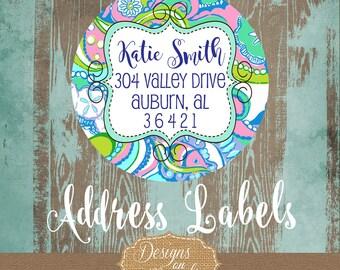 Lilly Pulitzer Inspired Oh Shello Address Label, Lilly Stationery, Oh Shello Design Round Sticker, Preppy Gift