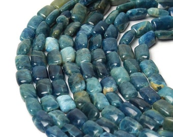 Apatite Beads NO TREATMENT, Natural Apatite Rectanhgle Beads, Rectangle Teal Gemstone, Full or Half Strand
