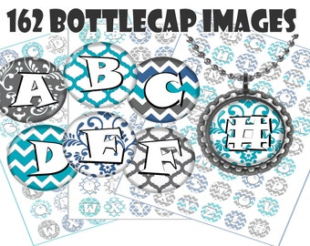 Alphabet bottle cap images ABCs Instant Download Digital Scrapbooking collage sheet Crafts Chevron, Demask, Baby Jewelry 1 inch circle party