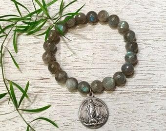 Flash Labradorite and Vintage Medal Bracelet / Religious Medal Gemstone Bracelet / Holy Family and Guardian Angel Bracelet /Grace Collection