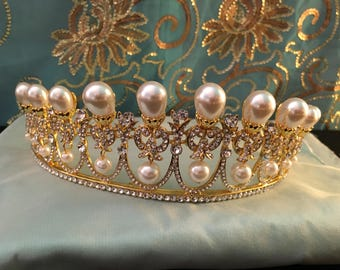 Gold Pearl TIARA, reproduction early 19th century faux pearl tiara, New, lovely glowing teardrop pearl tiara, earrings option