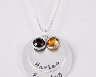 Hand stamped mothers necklace | hand stamped | mothers necklace with names