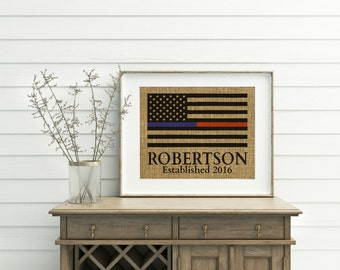 Thin Blue Line & Thin Red Line Flag Print - Burlap Print - Police Officer Fire Fighter Print - Thin Blue Line Flag - Thin Red Line Flag