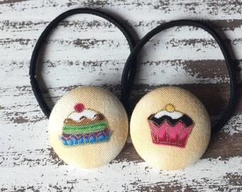 Cupcake Hair Clip – Cupcake Hair Tie – Cupcake Barrette –Cupcake Ponytail Holder – Kawaii Cupcake Hair Button – Baking Birthday - Baker Gift