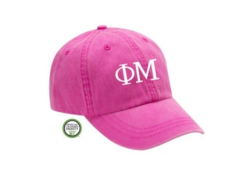 Phi Mu Embroidered Hat, Baseball Cap, Sorority Hat, Sorority gift, Big Little Gift, Phi Mu Gift