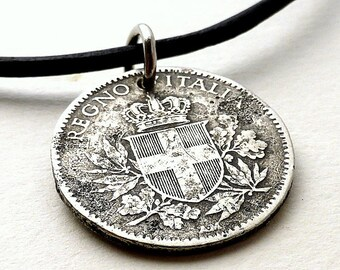 Italian necklace, Coin necklace, Vintage necklace, Coin jewelry, Leather necklace, Coin pendant, Italian jewelry, Vintage coin, Coins, 1918