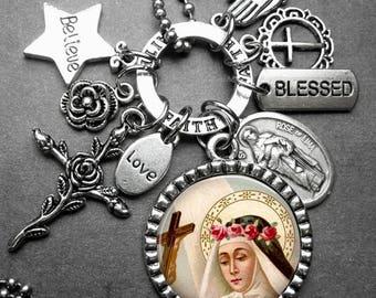 St. Rose of Lima Picture Pendant Catholic Holy Medal & Multi Charm Necklace, Catholic Jewelry, Confirmation Gift, Catholic Gift, Patron St.