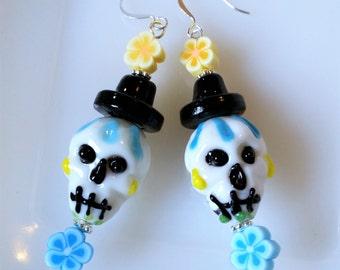 Blue & Yellow Day of the Dead Sugar Skull Lampwork Glass Earrings; Skull w/Top Hat and Flowers Earrings; Blue Dia de los Muertos Earrings