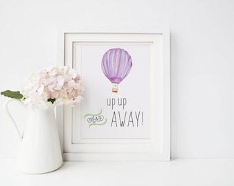 Watercolor Digital Print, Up Up and Away Print, Nursery Digital Print, Digital Prints, Hot Air Balloon Watercolor Print, Digital Printables