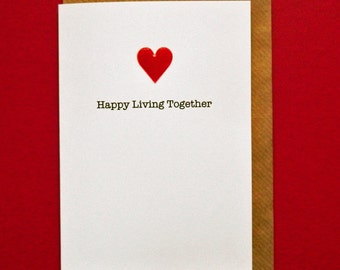 Happy Living Together. Red Enamel Heart Card, New Home, Moving in Together - Hand-enamelled art card.