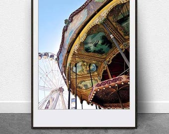 Carousel, DIGITAL Download, Printable Art, Photography, Carnival Art, Ferris Wheel, Merry Go Round, Vintage, Retro, Fine Art, Nursery Decor