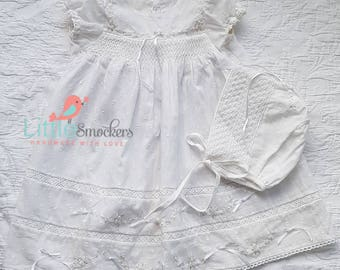 Gorgeous Hand smocked baptism/ take home dress - size 0-3 months