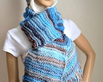 Hand knitted women's scarf and hat set