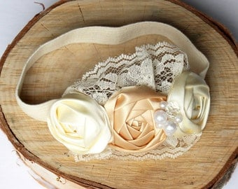 ROSETTE HEAD BAND - Ivory Champagne and Lace Head Band , Baby Girl or Adult Ivory and Champagne Rosette Hair Band , Lace and Pearl