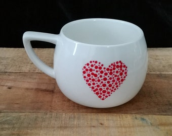 White mug with hand painted red heart