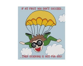 Cross Stitch Pattern, Funny Skydiving Motivational, Counted Cross Stitch Chart, Instant Download PDF, Cowbell Cross Stitch, Subversive