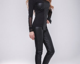 Faux Leather pants / Leather leggings / second skin Pants / Black pants / Extravagant pants / Black leggings / wedge