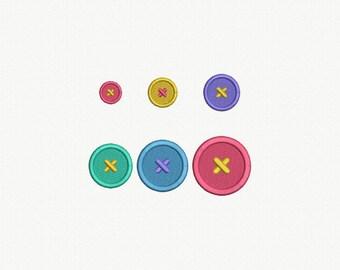 Mini Button Machine Embroidery Design - 6 Sizes
