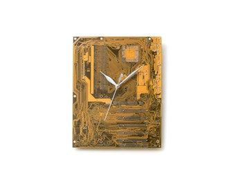 Wall Clock, Yellow Large Wall Clock, Motherboard Clock, Circuit Board Clock, Unique Wall Clock, Unique Gift, Boyfriend Gift, Husband Gift