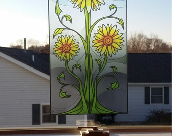 "Sunflower ""Stained Glass"" Style WINDOW CLING"